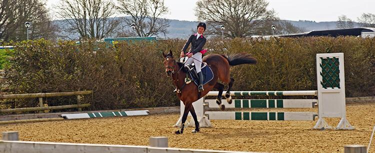 Demander un arrêt immédiatement après un saut vous incitera à bien vous redresser et rééquilibrera votre cheval dès la réception.