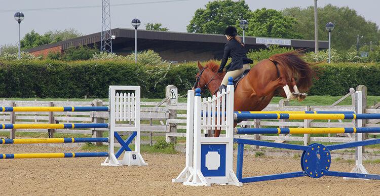 Prenez l'habitude de vous redresser dès la phase descendance du saut afin de garder votre cheval en équilibre et devant vous : les combinaisons vous paraitront alors bien plus simples à aborder !
