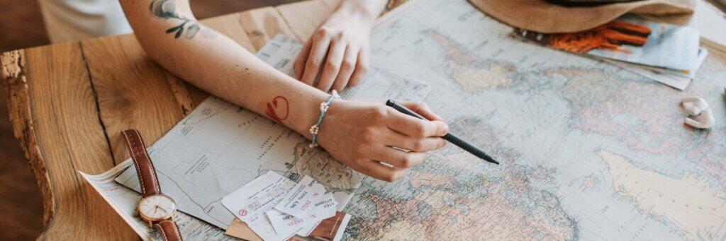 repérage d'itinéraire sur un plan